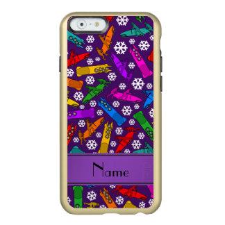 Custom name purple rainbow bobsleigh snowflakes incipio feather® shine iPhone 6 case