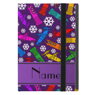Custom name purple rainbow bobsleigh snowflakes iPad mini case