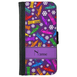 Custom name purple rainbow bobsleigh snowflakes iPhone 6/6s wallet case
