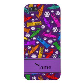 Custom name purple rainbow bobsleigh snowflakes iPhone SE/5/5s cover