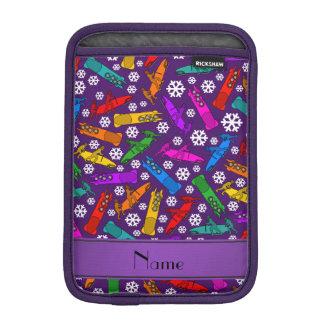 Custom name purple rainbow bobsleigh snowflakes sleeve for iPad mini
