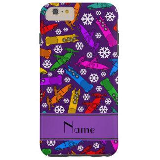 Custom name purple rainbow bobsleigh snowflakes tough iPhone 6 plus case