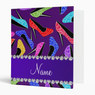 Custom name purple rainbow leopard high heels 3 ring binder