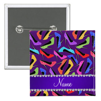 Custom name purple rainbow leopard high heels 2 inch square button