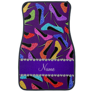Custom name purple rainbow leopard high heels car floor mat