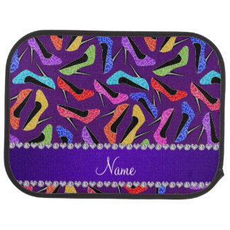 Custom name purple rainbow leopard high heels car mat