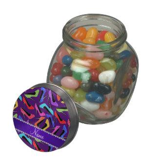 Custom name purple rainbow leopard high heels glass candy jar