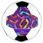 Custom name purple rainbow leopard high heels soccer ball