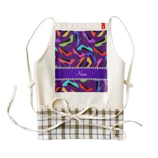 Custom name purple rainbow leopard high heels zazzle HEART apron