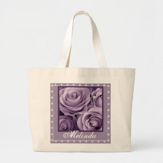CUSTOM NAME Purple Rose Bouquet and Lace Large Tote Bag