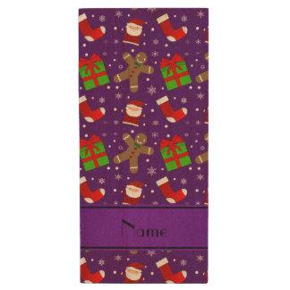 Custom name purple santas gingerbread wood USB 2.0 flash drive
