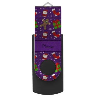 Custom name purple santas gingerbread swivel USB 2.0 flash drive