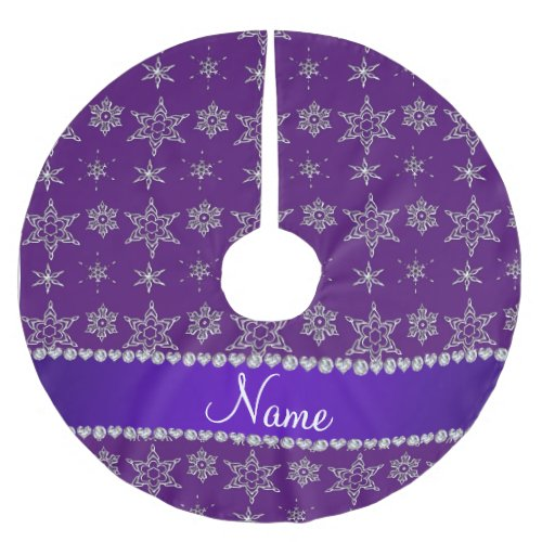 Custom name purple silver snowflakes purple stripe brushed polyester tree skirt