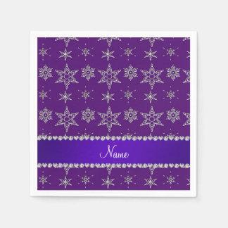 Custom name purple silver snowflakes purple stripe paper napkin
