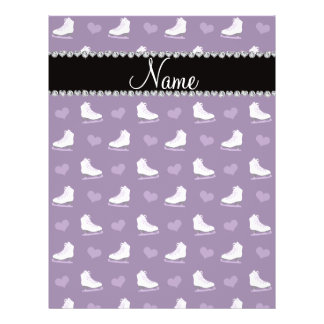 "Custom name purple skates and hearts 8.5"" x 11"" flyer"