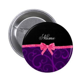 Custom name purple swirls pink glitter bow pin