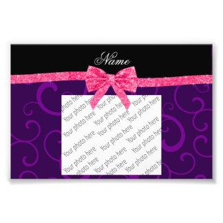 Custom name purple swirls pink glitter bow photo