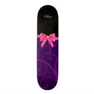 Custom name purple swirls pink glitter bow skateboard