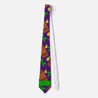 Custom name purple tiki pineapples palm trees tie