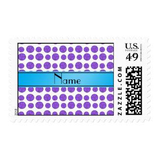 Custom name purple volleyball blue stripe stamp