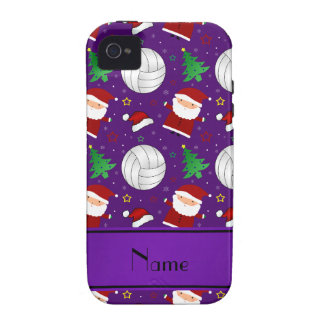 Custom name purple volleyball christmas pattern iPhone 4 cover
