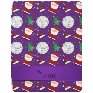 Custom name purple volleyball christmas pattern iPad cover