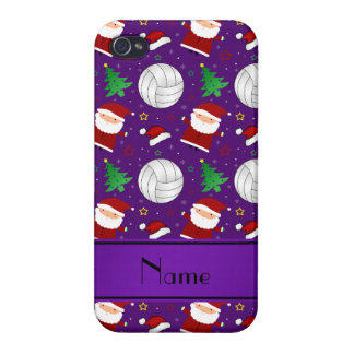Custom name purple volleyball christmas pattern cases for iPhone 4