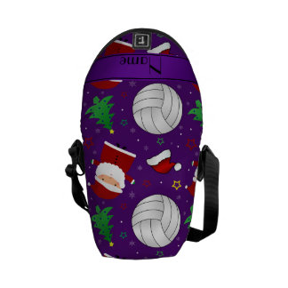 Custom name purple volleyball christmas pattern courier bag