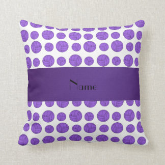 Custom name purple volleyball pattern throw pillows