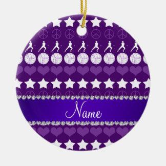 Custom name purple volleyballs stars hearts peace ceramic ornament