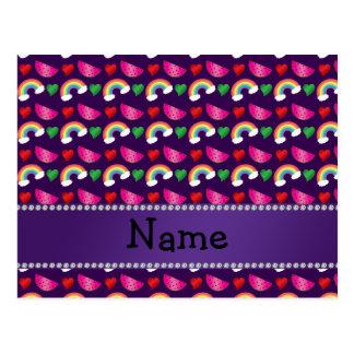 Custom name purple watermelons rainbows hearts post card
