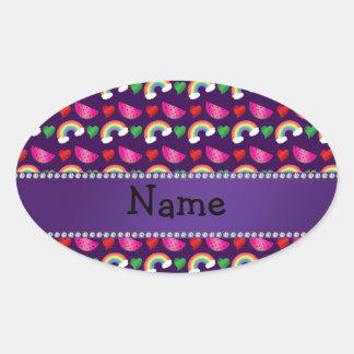 Custom name purple watermelons rainbows hearts oval stickers