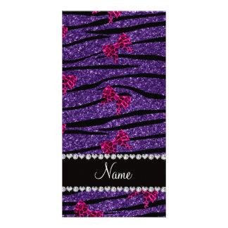 Custom name purple zebra stripes pink bows custom photo card