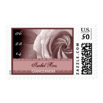 CUSTOM NAME Quinceanera- PINK CHAMPAGNE Rose Postage