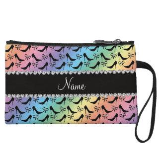 Custom name rainbow black high heels bow diamond wristlet clutch