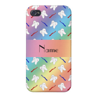 Custom name rainbow brushes and tooth pattern iPhone 4/4S covers