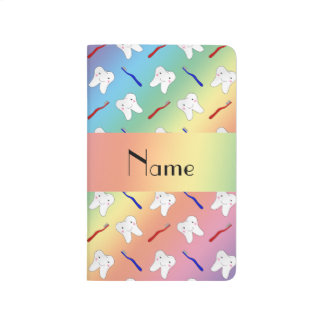 Custom name rainbow brushes and tooth pattern journal
