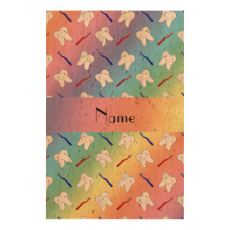 Custom name rainbow brushes and tooth pattern photo cork paper