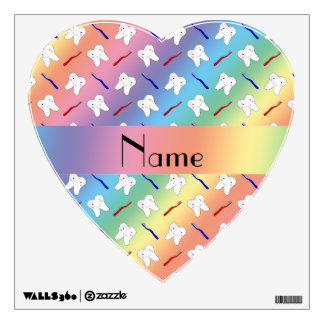 Custom name rainbow brushes and tooth pattern room decals