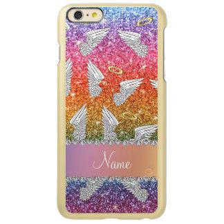 Custom name rainbow glitter angel wings incipio feather® shine iPhone 6 plus case