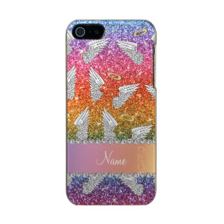 Custom name rainbow glitter angel wings incipio feather® shine iPhone 5 case