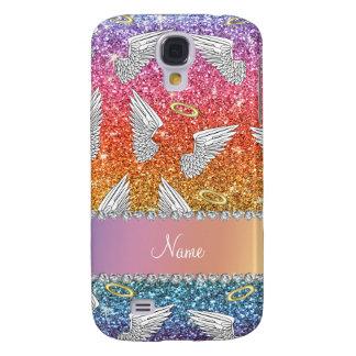 Custom name rainbow glitter angel wings samsung galaxy s4 cover