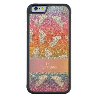 Custom name rainbow glitter angel wings carved® maple iPhone 6 bumper
