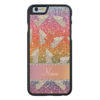 Custom name rainbow glitter angel wings carved® maple iPhone 6 case