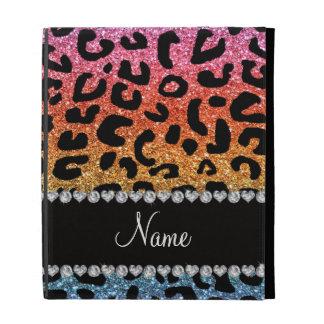 Custom name rainbow glitter cheetah print iPad folio cases