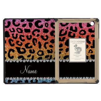 Custom name rainbow glitter cheetah print iPad mini retina case