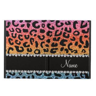 Custom name rainbow glitter cheetah print powis iPad air 2 case