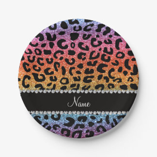 Custom name rainbow glitter cheetah print paper plate