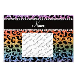 Custom name rainbow glitter cheetah print photo print