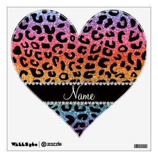 Custom name rainbow glitter cheetah print wall decals